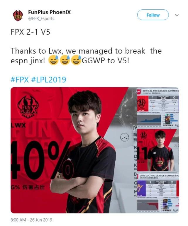 FPX官推回复被ESPN毒奶:我们要尊重玄学!